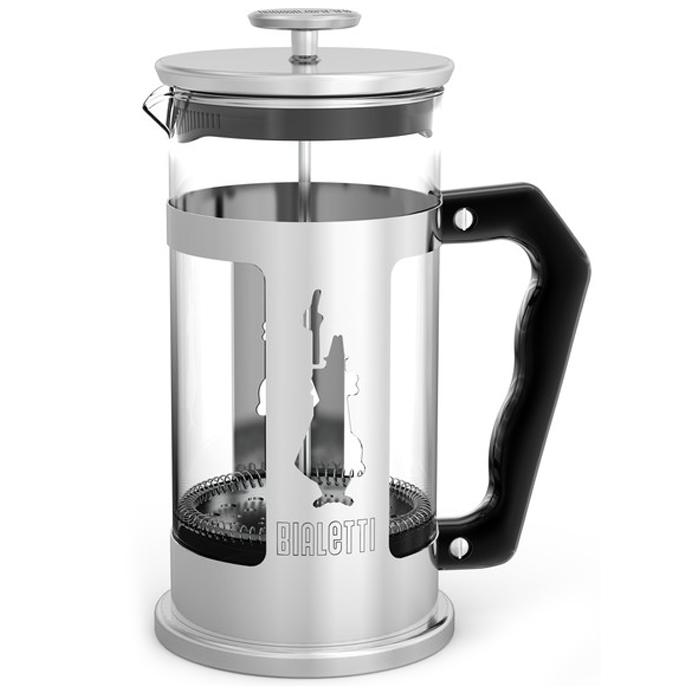 Френч- пресс , Pressofiltro 1L115510Френч-пресс для кофе и чая Bialetti Pressofiltro выполнен из термостойкого стекла и нержавеющей стали. Отлично подходит для заваривания любых сортов кофе, без проблем справится с любым помолом. Помимо кофе, во френч-прессе можно заварить чай и травяные настои. Наружная крышка выполнена из нержавеющей стали с полипропиленовой прокладкой. Рукоятка имеет покрытие для удобного и комфортного хвата. Можно мыть в посудомоечной машине. Объем: 1 л.
