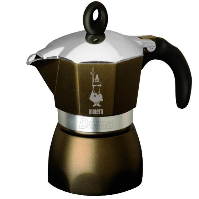 Гейзерная кофеварка Dama Glamour, 3 порции, ореховый, коробка115510Гейзерная кофеварка Dama Glamour, 3 порции, ореховый, коробка