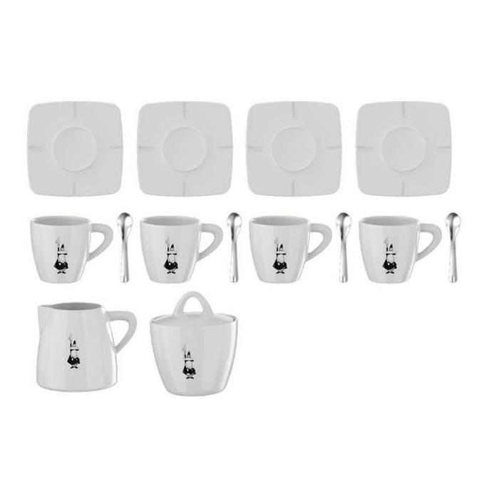 Набор кофейный Bialetti Porcelain, цвет: белый, 14 предметов516-083Набор посуды Bialetti Porcelain оригинального дизайна позволит насладиться вашими любимыми напитками. Набор рассчитан на 4 персоны и состоит из 14 предметов: 4 чашки, 4 блюдца, 4 ложки, сахарница и молочник. Все предметы изготовлены из высококачественного белого итальянского фарфора, который не теряет внешней красоты даже при длительной эксплуатации, в том числе при использовании посудомоечной машины.Набор Bialetti Porcelain поставляется в фирменной подарочной коробке, где каждый предмет надежно упакован отдельно от других. Посуда Bialetti - это всегда престижный и статусный подарок, который достоин самых больших праздничных событий.Объем одной чашки: 40 мл.Объем сахарницы: 300 мл.