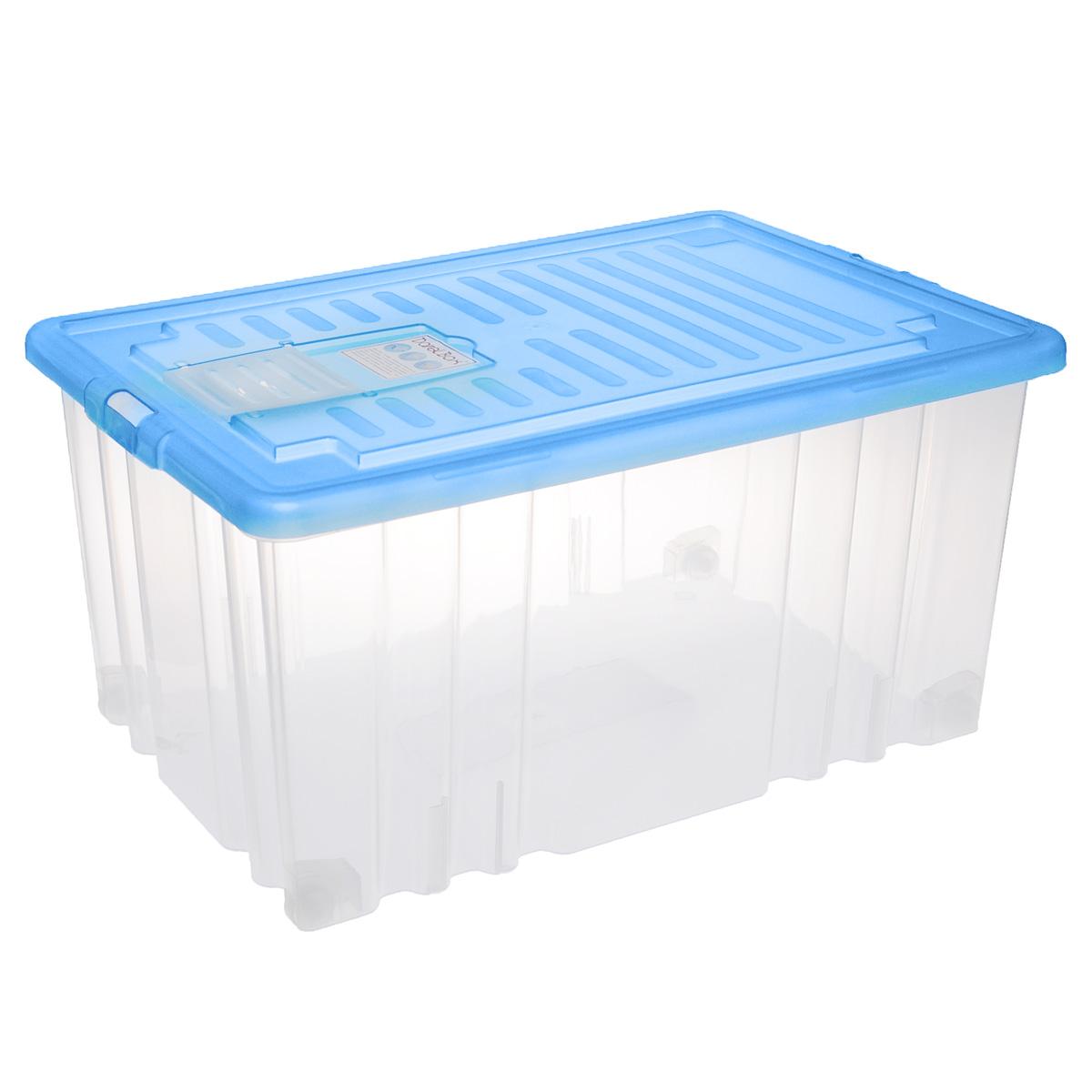 Ящик Darel Box, с крышкой, цвет: синий, прозрачный, 56 л74-0120Ящик Darel Box, изготовленный из прозрачного пластика, оснащен плотно закрывающейся крышкой и специальным клапаном для антимолиевых и дезодорирующих веществ. Изделие предназначено для хранения различных бытовых вещей. Идеально подойдет для хранения белья, продуктов, игрушек. Будет незаменим на даче, в гараже или кладовой. Выдерживает температурные перепады от -25°С до +95°С. Изделие имеет четыре маленьких колесика, обеспечивающих удобство перемещения ящика. Колеса бокса могут принимать два положения: утопленное - для хранения, и рабочее - для перемещения. Размер ящика: 65 см х 41,5 см х 31 см.