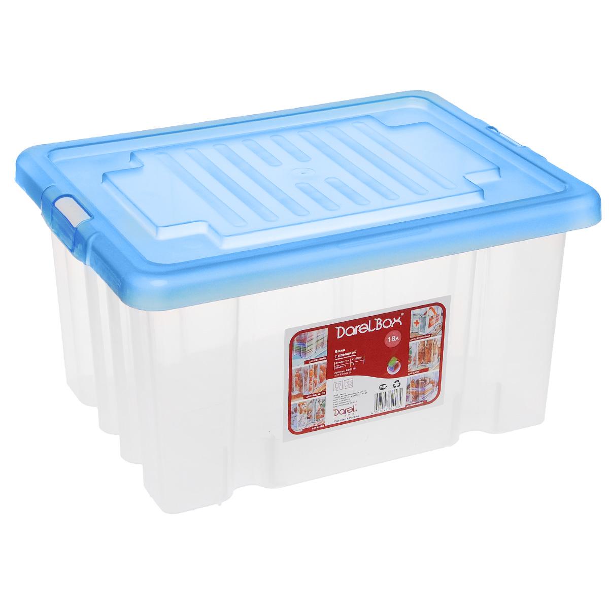 Ящик Darel Box, с крышкой, цвет: синий, прозрачный, 18 л12723Ящик Darel Box, изготовленный из прозрачного пластика, оснащен плотно закрывающейся крышкой. Изделие предназначено для хранения различных бытовых вещей. Идеально подойдет для хранения белья, продуктов, игрушек. Будет незаменим на даче, в гараже или кладовой. Выдерживает температурные перепады от -25°С до +95°С.Размер ящика: 40 см х 30 см х 21 см.