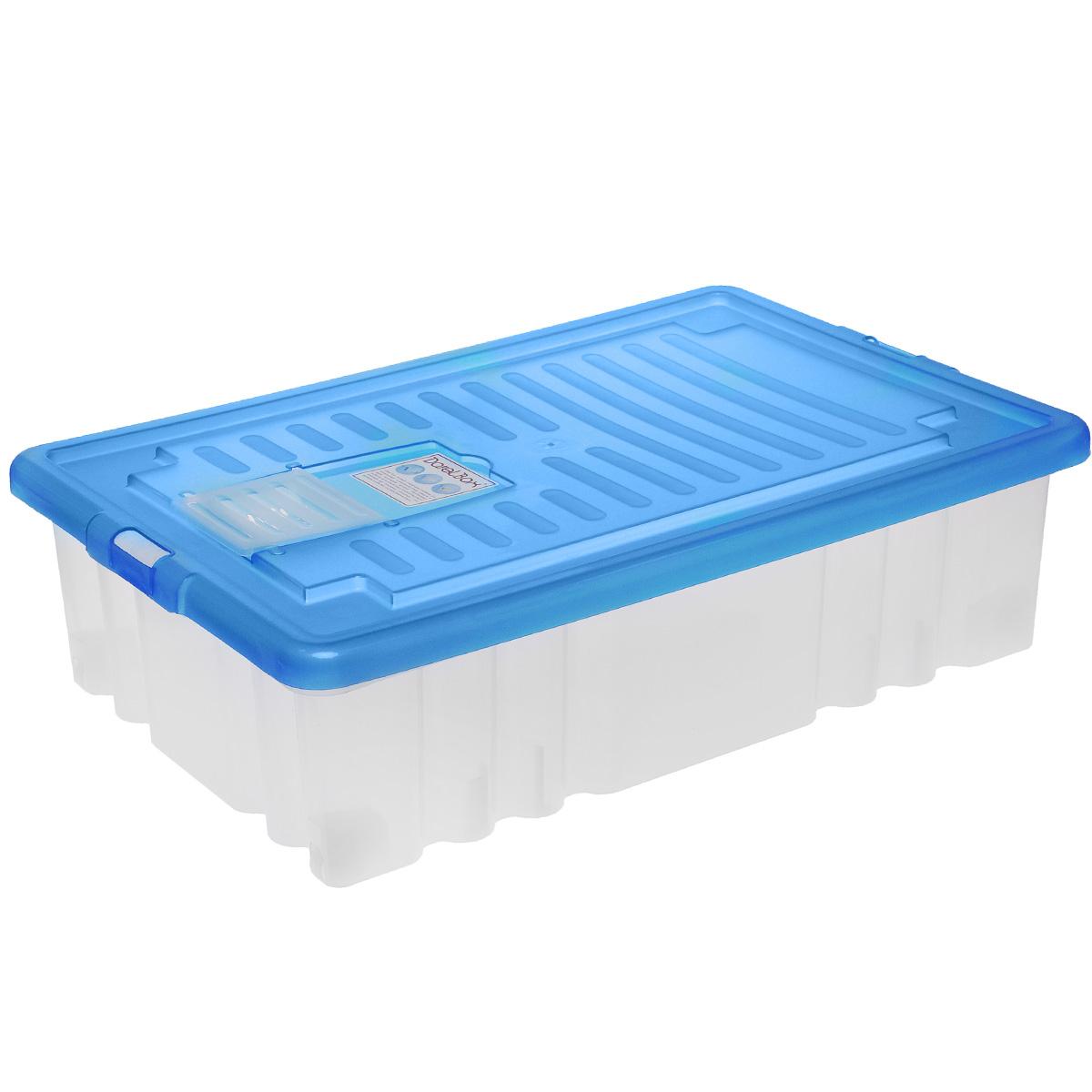 Ящик Darel Box, с крышкой, цвет: синий, прозрачный, 36 лV4140/1SЯщик Darel Box, изготовленный из пластика, оснащен плотно закрывающейся крышкой и специальным клапаном для антимолиевых и дезодорирующих веществ. Изделие предназначено для хранения различных бытовых вещей. Идеально подойдет для хранения белья, продуктов, игрушек. Будет незаменим на даче, в гараже или кладовой. Выдерживает температурные перепады от -25°С до +95°С. Изделие имеет четыре маленьких колесика, обеспечивающих удобство перемещения ящика. Колеса бокса могут принимать два положения: утопленное - для хранения, и рабочее - для перемещения. Размер ящика: 61 см х 40 см х 17 см.