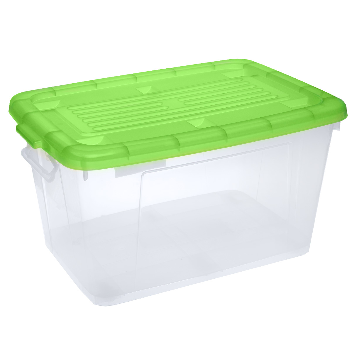 Ящик Darel Box, с крышкой, цвет: прозрачный, зеленый, 75 лU210DFЯщик Darel Box, изготовленный из прозрачного пластика, оснащен ручками и плотно закрывающейся крышкой. Изделие предназначено для хранения различных бытовых вещей. Идеально подойдет для хранения белья, продуктов, игрушек. Будет незаменим на даче, в гараже или кладовой. Выдерживает температурные перепады от -25°С до +95°С. Изделие имеет четыре маленьких колесика, обеспечивающих удобство перемещения ящика. Размер ящика: 68 см х 47 см х 37 см.