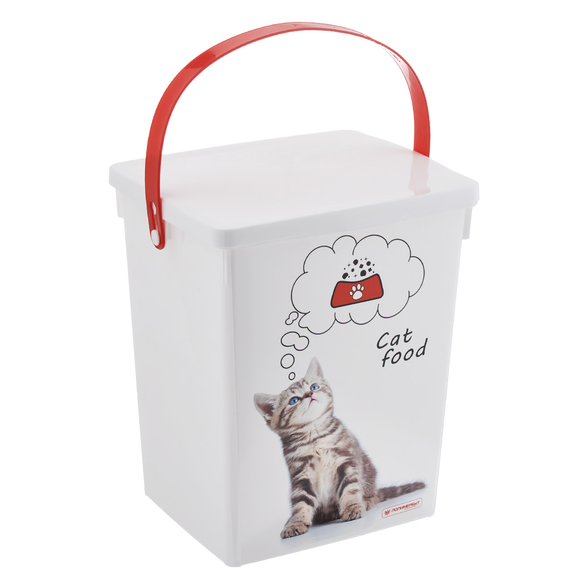 Контейнер для хранения корма Полимербыт Cat Food, цвет: белый, красный, 5 лSC-FD421005Контейнер Полимербыт, изготовленный из высококачественного пластика, предназначен для хранения корма для животных. Контейнер оснащен ручкой, благодаря которой можно без проблем переносить с места на место.В таком контейнере корм останется всегда свежим.