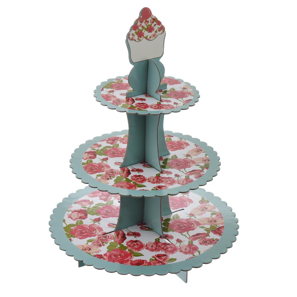 Подставка под маффины Dolce Arti, высота 40 см115510Трехъярусная подставка под маффины Dolce Arti изготовлена из плотного картона и оформлена принтом с изображением красных роз. Блюда круглые, с рельефом по краю. Подставка поставляется в разобранном виде, она легко собирается - в собранном виде выглядит оригинально и красиво. Такая подставка идеально подходит для красивой подачи пирожных, маффинов, кексов и другой выпечки. Диаметр блюд: 23,5 см, 29 см, 33 см. Высота (в собранном виде): 40 см.