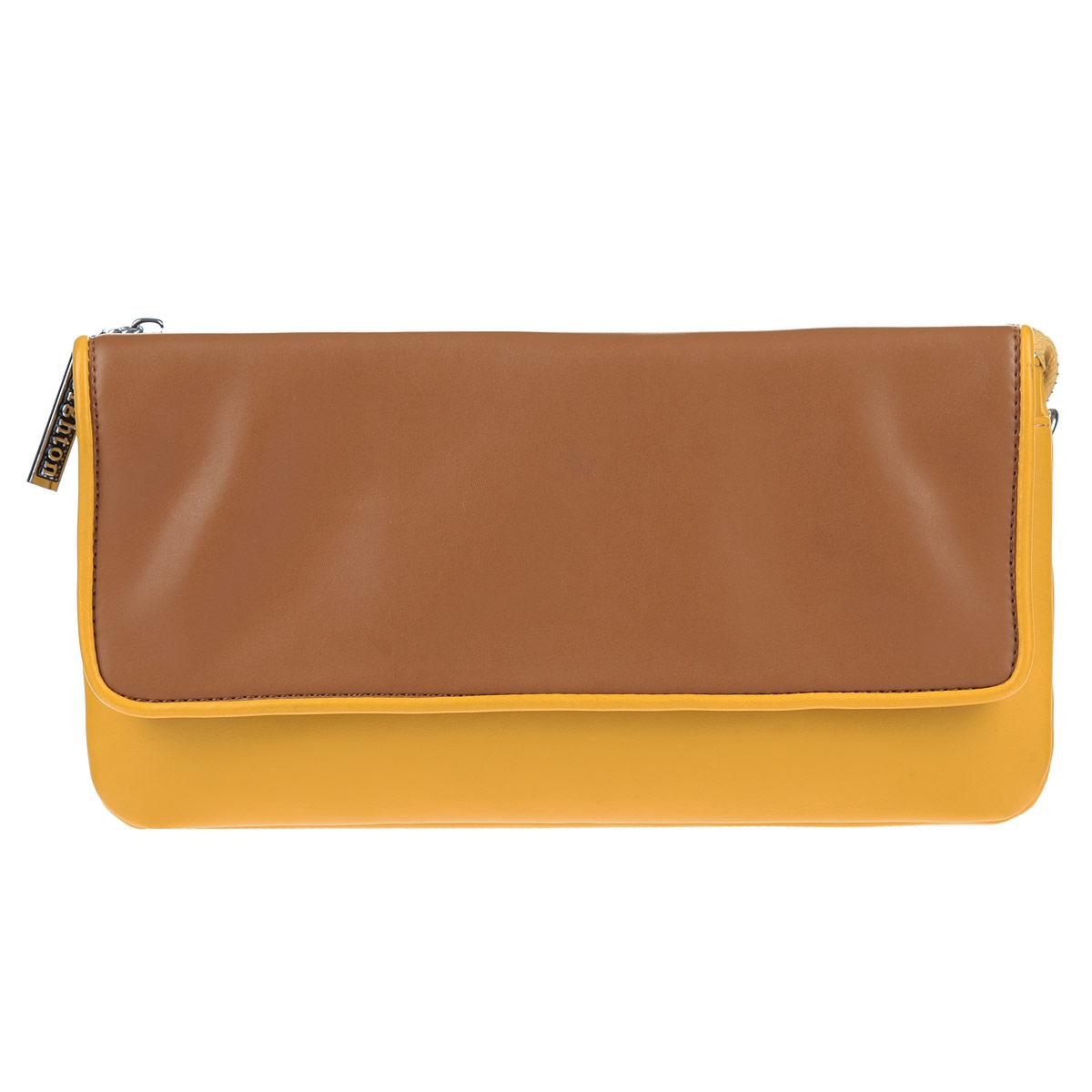 Клатч Leighton, цвет: желтый, коричневый. 4001-082/335/082/840S76245Элегантный клатч Leighton выполнен из искусственной кожи с гладкой внешней поверхностью и декорирован металлической фурнитурой. Модель имеет два отделения, закрывающихся на общую застежку-молнию. Между отделениями расположен смежный кармашек на молнии и шесть наборных кармашков для визиток или кредитных карт. Лицевая сторона клатча дополнена плоским накладным карманом, закрывающимся при помощи клапана на магниты. Клатч имеет съемный плечевой ремень, длина которого регулируется, и ремешок для запястья.Модный клатч из летней коллекции от бренда Leighton идеально дополнит ваш образ и создаст игривое настроение.