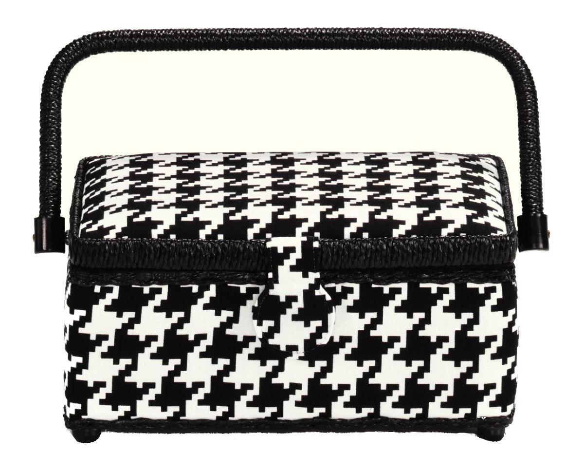 Шкатулка для рукоделия Glencheck, цвет: черный, белый, 24 см х 16 см х 11 см12723Шкатулка для рукоделия Glencheck , станет чудесным подарком для рукодельницы. Порадуйте женщин незаменимой шкатулкой Glencheck от производителя Prym.