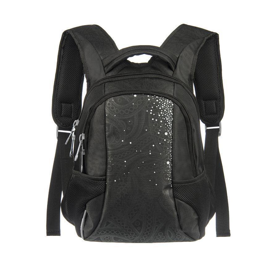 Рюкзак городской Grizzly, цвет: черный-серебро, 20 л. RS-430-3/113022215Рюкзак с двумя отделениями, пеналом для карандашей, боковыми карманами, укрепленными лямками, жесткой спинкой