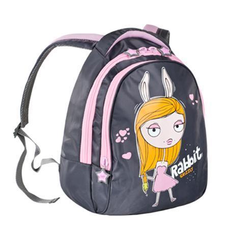 Grizzly RD-215-1 рюкзак 311 серый - 141 розовый72523WDРюкзак с двумя отделениями, пеналом для карандашей, мягкими лямками и ручкой с вставками из неопрена, с жесткой спинкой с фигурной отсрочкой