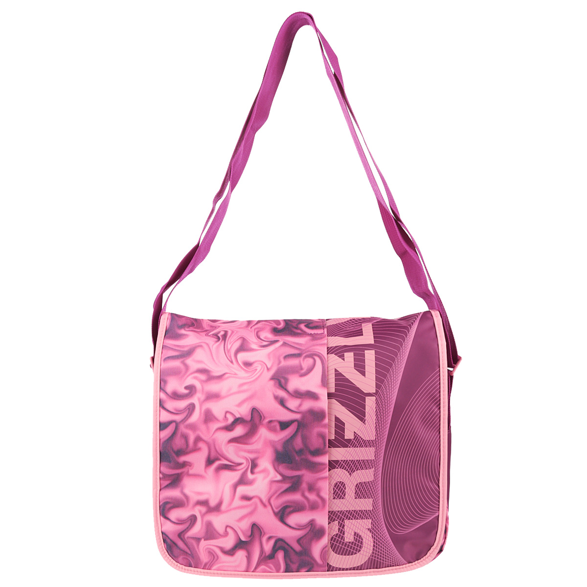 Сумка школьная Grizzly, цвет: розовый. MD-536-2MD-536-2/3Сумка женская с двумя отделениями на молнии с клапаном, застегивающимся на липучки, с пеналом и карманом на молнии из сетки на передней стенке,с регулируемым ремнем.