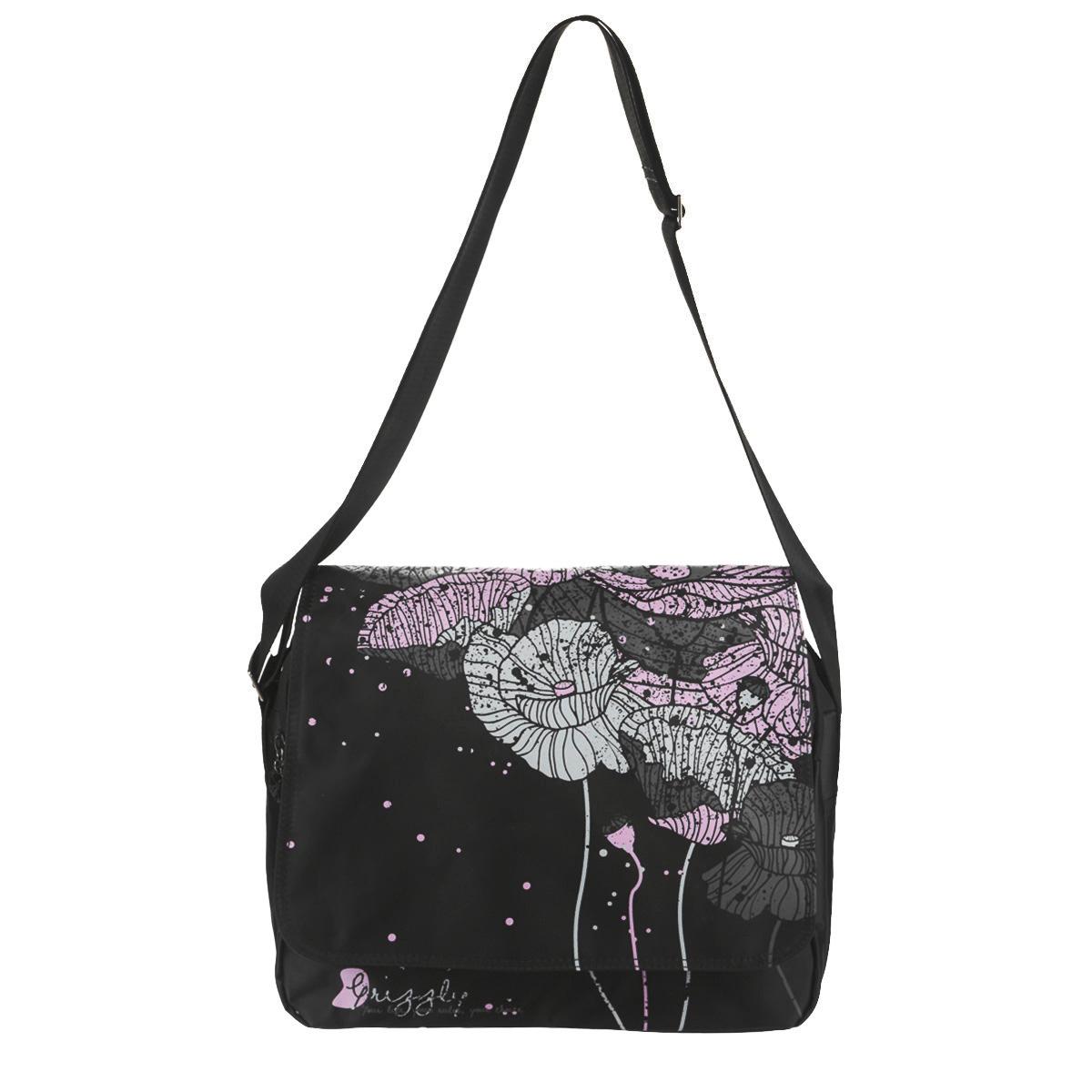 Сумка молодежная Grizzly, цвет: черный, серый, фиолетовый. MD-531-272523WDОригинальная молодежная сумка Grizzly выполнена из текстиля, оформлена ярким принтом с изображением цветов.Изделие содержит одно главное отделение, которое застегивается на молнию и дополнительно застегивается на липучки, внутри вшитый карман на молнии. Снаружи в стенке сумки размещен накладной карман на молнии, накладной карман и два накладных кармана для ручки и телефона. На тыльной стороне сумки размещен вшитый карман на молнии. Сумка оснащена широким плечевым ремнем, длина которого регулируется пряжкой.Такая сумка подчеркнет ваш образ и выделит вас из толпы.