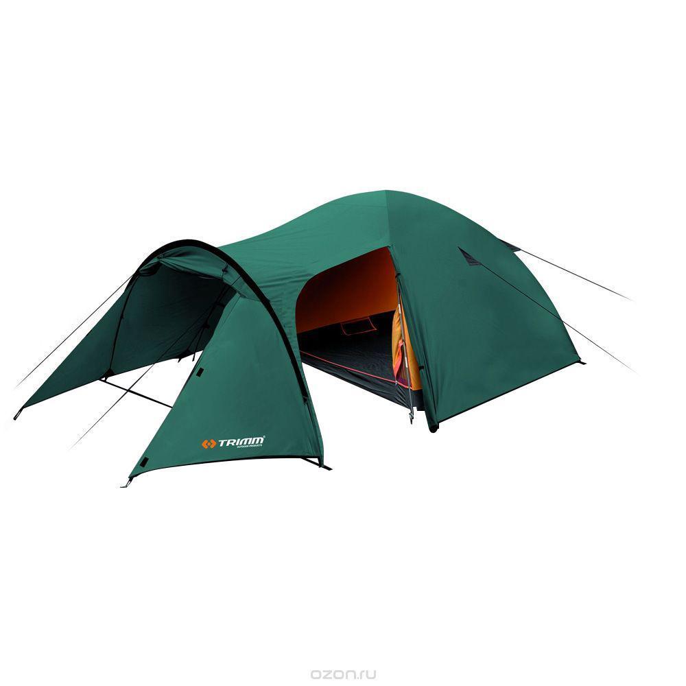 Палатка трехместная Trimm EAGLE 3, цвет: зеленый67742Палатка Trimm EAGLE – среднего размера туристическая палатка серии Outdoor, с внешним тентом зеленого цвета. Прекрасный выбор для походов, рыбалки и прочих видов активного отдыха в не зимние сезоны. Палатка EAGLE от чешского производителя Trimm относится к бюджетной серии Outdoor. Отличительная черта данной модели – трехстержневой каркас, благодаря которому она устойчива к порывам ветра, а также наличие большого тамбура, где можно сложить походные рюкзаки и другие вещи. Внутри палатки с комфортом разместятся 3 человека; при желании можно уместиться и вчетвером, но будет тесновато.