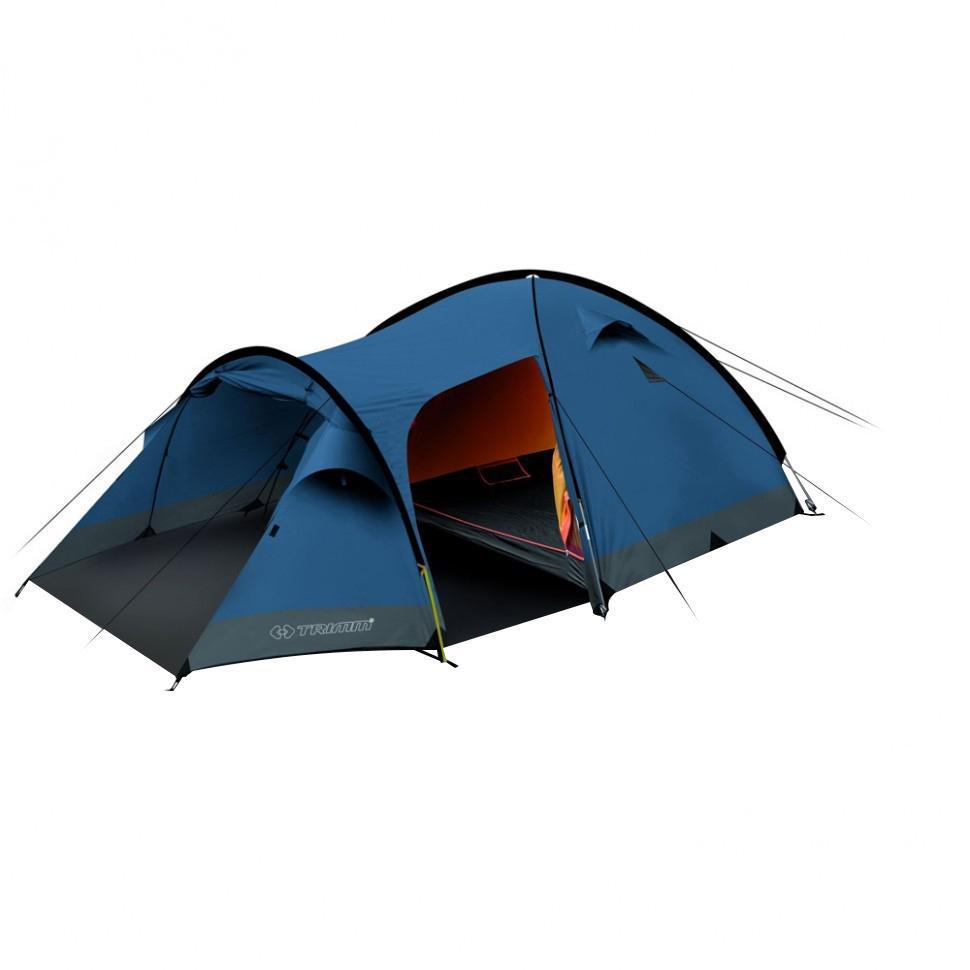 Палатка четырехместная Trimm CAMP II 4, цвет: синийR36952Палатка Trimm CAMP II – вместительная туристическая палатка серии Family с внешним тентом синего цвета. Прекрасный выбор для семейных походов, рыбалки и прочих видов активного отдыха во все сезоны, кроме зимы. Палатка CAMP II от чешского производителя Trimm относится к серии Family, особенностью которой является комфорт и безопасность пребывания на природе в течение длительного срока. Отличительная черта данной модели – уникальная система крепления каркаса и наличие большого тамбура, который можно открыть с двух сторон. Внутри палатки с комфортом разместятся 4 человека, но если потесниться, то можно разместить еще 1 человека.