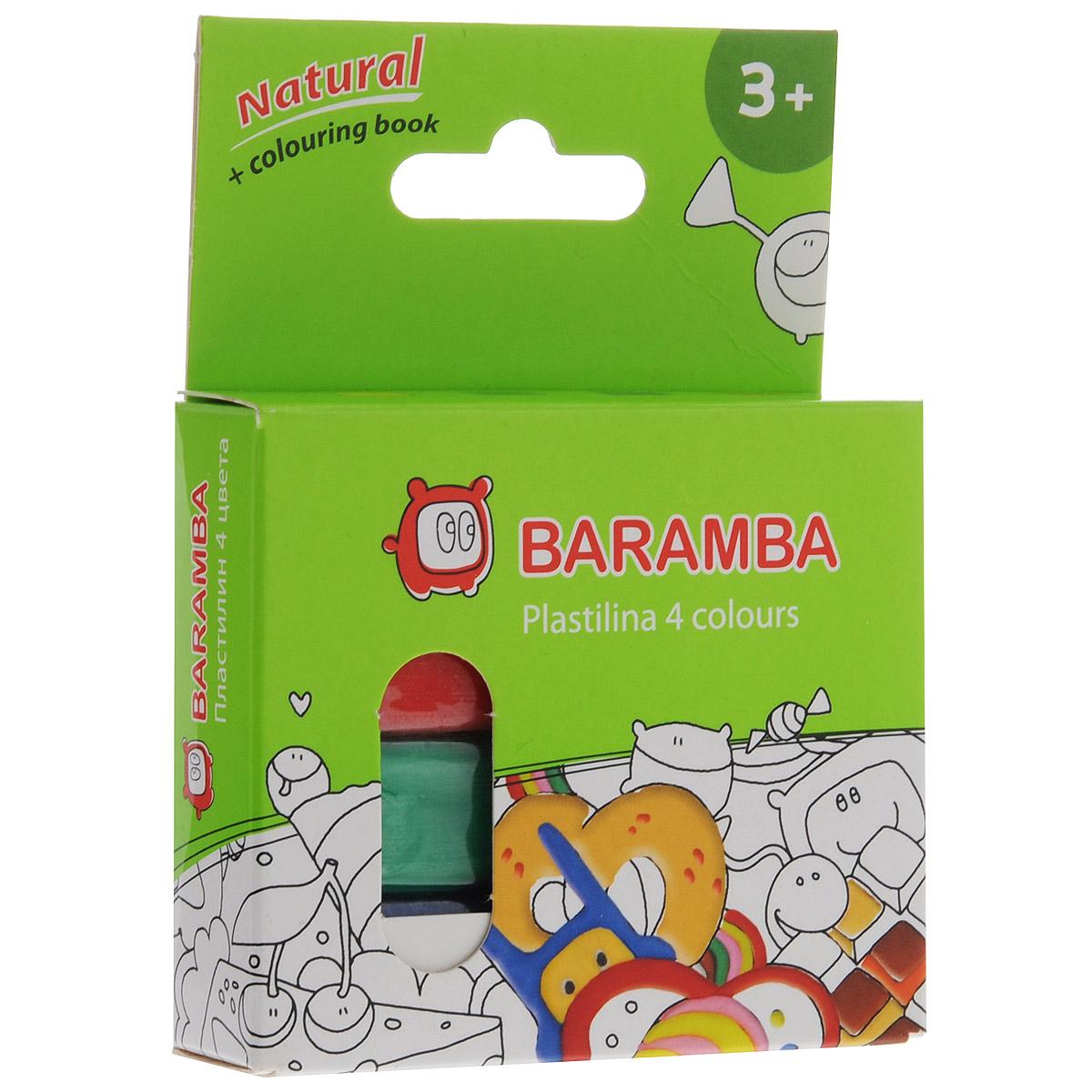 Пластилин Baramba, 4 цветов, с раскраской84966Пластилин Baramba с раскраской - это отличная возможность познакомить ребенка с еще одним из видов изобразительного творчества, в котором создаются объемные образы и целые композиции. В набор входит пластилин 4 ярких цветов (желтый, зеленый, синий, красный). Цвета пластилина легко смешиваются между собой, и таким образом можно получить новые оттенки. Пластилин на растительной основе, очень мягкий, содержит натуральные масла и воск, легко смешивается друг с другом и не липнет к рукам.Техника лепки богата и разнообразна, но при этом доступна даже маленьким детям. В комплект также входит раскраска с изображением, которое малыш сможет раскрасить с помощью пластилина. Занятие лепкой не только увлекательно, но и полезно для ребенка. Оно способствует развитию творческого и пространственного мышления, восприятия формы, фактуры, цвета и веса, развивает воображение и мелкую моторику.
