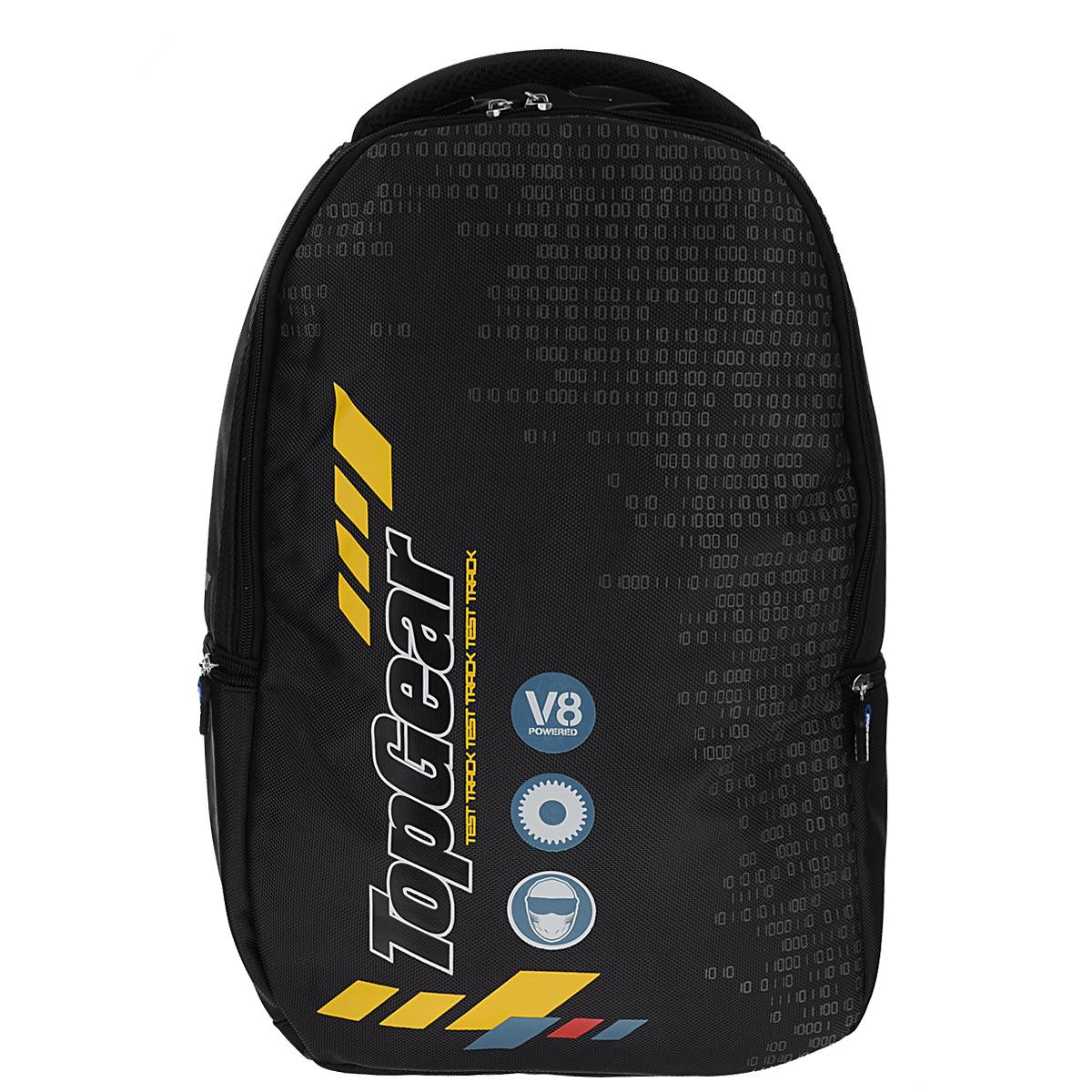 Рюкзак молодежный Proff Top Gear, цвет: черный17925Рюкзак молодежный Proff Top Gear сочетает в себе современный дизайн, функциональность и долговечность.Он выполнен из водонепроницаемого, морозоустойчивого материла черного цвета. Содержит одно вместительное отделение, закрывающееся на пластиковый замок-молнию с двумя бегунками. Бегунки застежки дополнены прорезиненными держателями. Внутри отделения имеются пять накладных горизонтальных открытых кармашка, два кармашка на молнии, один из которых карман-сеточка. Также имеется брелок для ключей. Рюкзак имеет два вшитых боковых кармана, закрывающиеся на молнии. Конструкция спинки дополнена двумя эргономичными подушечками, противоскользящей сеточкой для предотвращения запотевания спины. Мягкие широкие лямки позволяют легко и быстро отрегулировать рюкзак в соответствии с ростом. Рюкзак оснащен удобной текстильной ручкой для переноски в руке. Под ручкой находится небольшой кармашек с мягкой подкладкой, который можно использовать для небольшого мобильного телефона.Этот рюкзак можно использовать для повседневных прогулок, отдыха и спорта, а также как элемент вашего имиджа.
