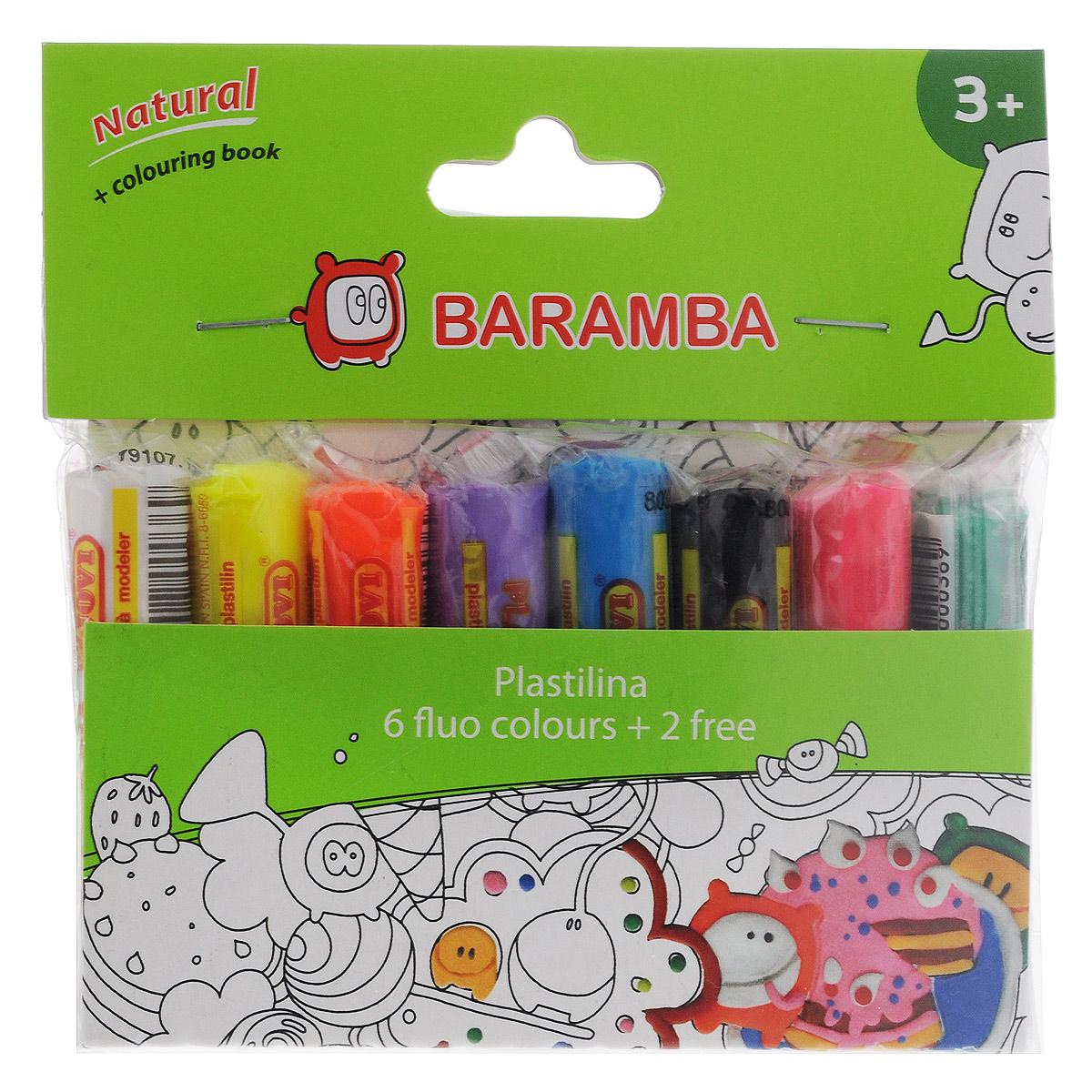 Пластилин на натуральной основе Baramba, с пищевыми красителями, 8 флоурисцветных цветов41774Пластилин Baramba это отличная возможность познакомить ребенка с еще одним из видов изобразительного творчества, в котором создаются объемные образы и целые композиции. В набор входит пластилин 8 ярких цветов (белый, желтый, оранжевый, фиолетовый, голубой, черный, розовый, зеленый), раскраскаЦвета пластилина легко смешиваются между собой, и таким образом можно получить новые оттенки. Пластилин на растительной основе имеет яркие, красочные цвета и не липнет к рукам, не сохнет.Техника лепки богата и разнообразна, но при этом доступна даже маленьким детям. Занятие лепкой не только увлекательно, но и полезно для ребенка. Оно способствует развитию творческого и пространственного мышления, восприятия формы, фактуры, цвета и веса, развивает воображение и мелкую моторику.