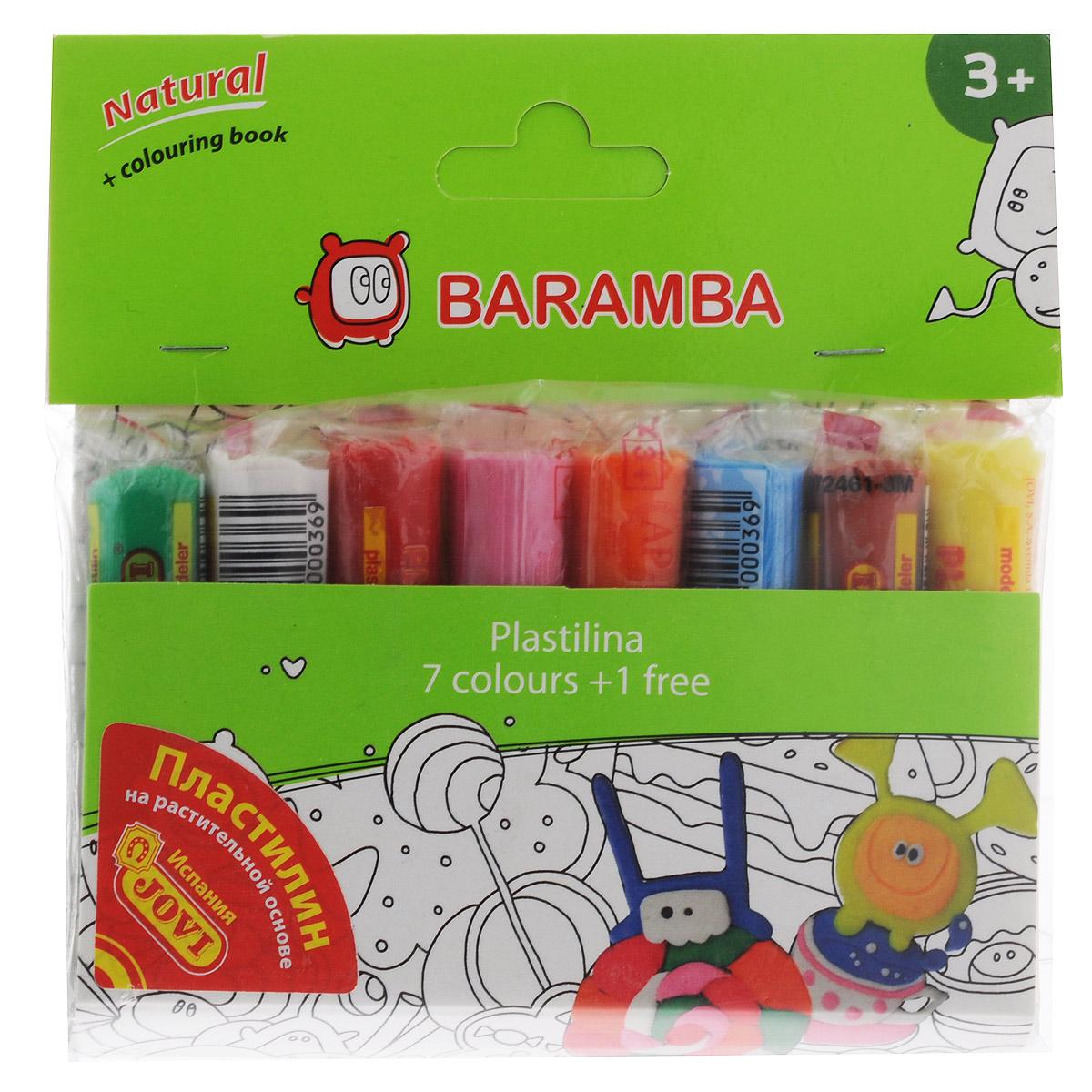 Пластилин на натуральной основе Baramba, с пищевыми красителями, 8 цветовPlay 8654Пластилин Baramba это отличная возможность познакомить ребенка с еще одним из видов изобразительного творчества, в котором создаются объемные образы и целые композиции. В набор входит пластилин 8 ярких цветов (зеленый, белый, красный, розовый, оранжевый, голубой, коричневый, желтый), раскраска.Цвета пластилина легко смешиваются между собой, и таким образом можно получить новые оттенки. Пластилин на растительной основе имеет яркие, красочные цвета и не липнет к рукам, не сохнет.Техника лепки богата и разнообразна, но при этом доступна даже маленьким детям. Занятие лепкой не только увлекательно, но и полезно для ребенка. Оно способствует развитию творческого и пространственного мышления, восприятия формы, фактуры, цвета и веса, развивает воображение и мелкую моторику.