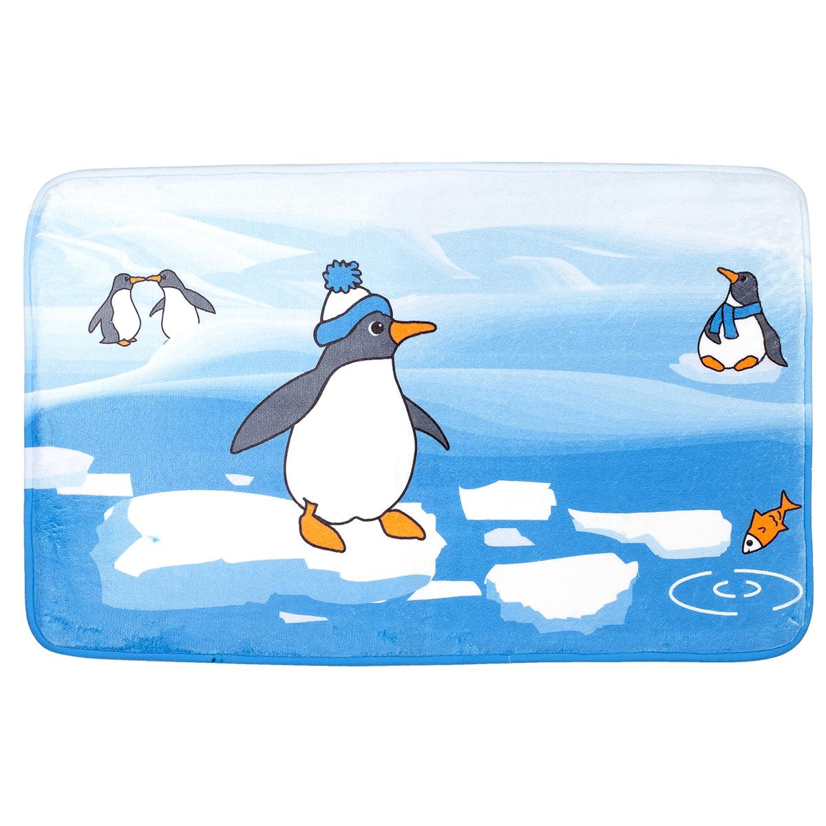 Коврик для ванной комнаты Tatkraft Penguins, 50 х 80 смWHMR24-221Коврик для ванной комнаты Tatkraft Penguins изготовлен из микрофибры Ultra Soft - мягкого, приятного на ощупь материала. Коврик отлично поглощает и впитывает влагу. Основание - противоскользящее, оно предотвращает скольжение коврика по полу. Яркий красочный рисунок с изображением пингвинов внесет оригинальную нотку в интерьер ванной комнаты. Коврики Tatkraft - прекрасное решение для ванной комнаты. Можно стирать в стиральной машине.