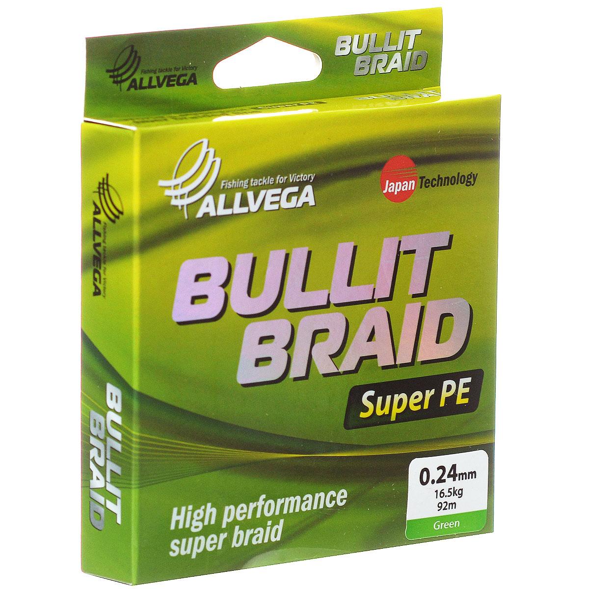 Леска плетеная Allvega Bullit Braid, цвет: темно-зеленый, 92 м, 0,24 мм, 16,5 кг31758Леска Allvega Bullit Braid с гладкой поверхностью и одинаковым сечением по всей длине обладает высокой износостойкостью. Благодаря микроволокнам полиэтилена (Super PE) леска имеет очень плотное плетение и не впитывает воду. Леску Allvega Bullit Braid можно применять в любых типах водоемов. Особенности:повышенная износостойкость;высокая чувствительность - коэффициент растяжения близок к нулю;отсутствует память; идеально гладкая поверхность позволяет увеличить дальность забросов; высокая прочность шнура на узлах.