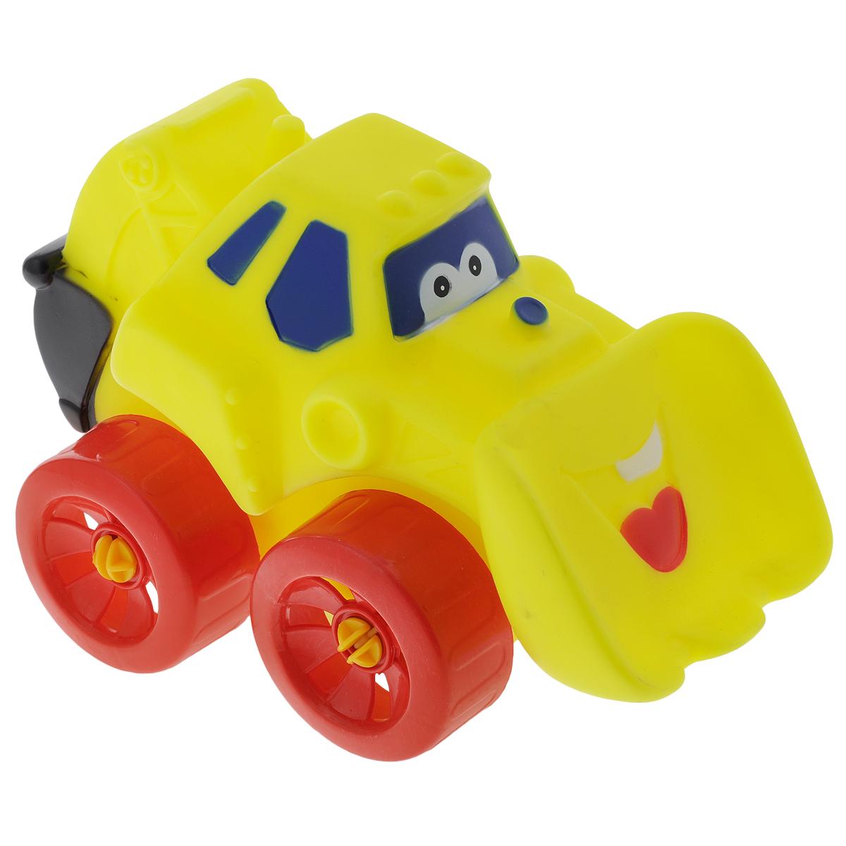 """Яркая машинка-бульдозер Erpa """"Tombis"""" понравится вашему малышу. Машинка выполнена из высококачественного мягкого пластика. Большие колеса со свободным ходом обеспечивают хорошую проходимость. Такая игрушка способствует развитию у малыша тактильных ощущений, мелкой моторики рук и координации движений."""