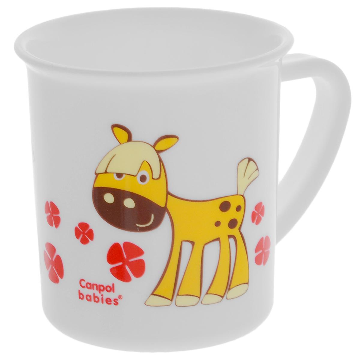 Canpol Babies Чашка детская Лошадка цвет желтый115510Детская чашка Canpol Babies предназначена для того, чтобы приучить малыша пить из посуды для взрослых. Чашка выполнена из безопасного полипропилена и оформлена изображением забавной лошадки.Чашка выглядит совсем как обычная, однако она меньше по объему. Если случайно малыш уронит чашку, то она не разобьется.