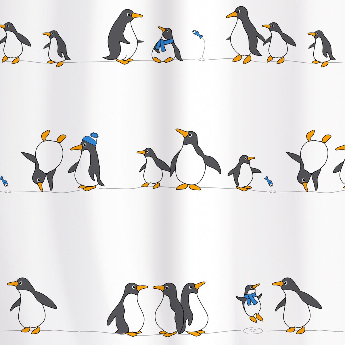Штора для ванной комнаты Tatkraft Penguins, 180 х 180 смPANTERA SPX-2RSШтора для ванной комнаты Tatkraft Penguins выполнена из полиэстера с водоотталкивающим и антигрибковым покрытием. Изделие быстро высыхает и легко стирается. Штора украшена изображением пингвинов. В комплекте прилагаются 12 фигурных пластиковых колец. Штора оснащена магнитами-утяжелителями для наибольшего комфорта. Можно стирать в стиральной машине при температуре 40°С.