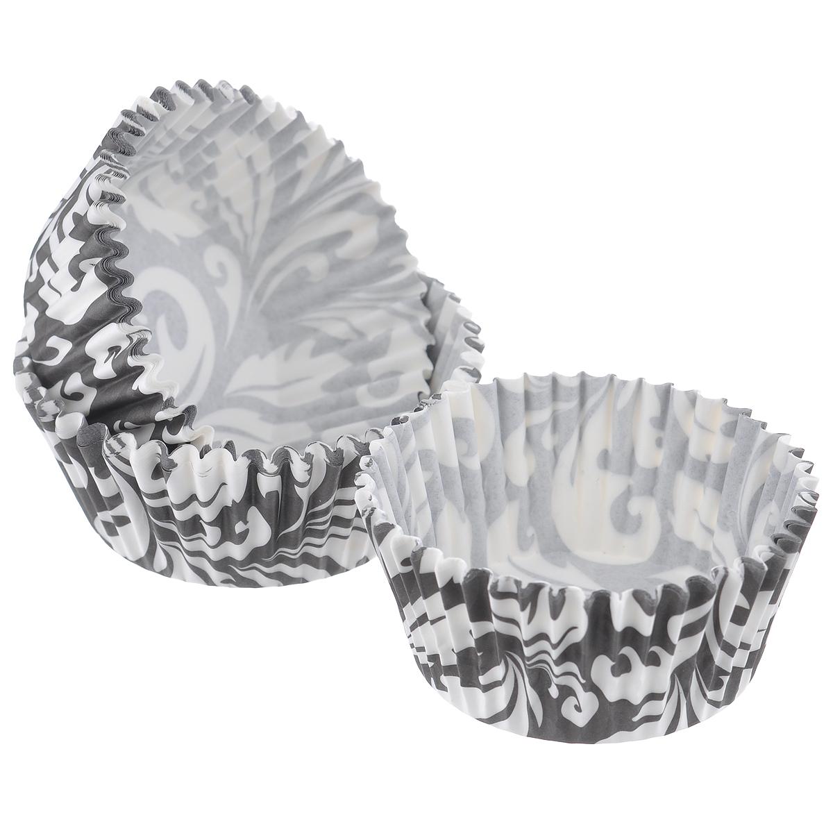 Набор бумажных форм для кексов Dolce Arti Черный узор, цвет: черный, белый, диаметр 7 см, 50 шт54 009312Набор Dolce Arti Черный узор состоит из 50 бумажных форм для кексов, оформленных оригинальным узором. Они предназначены для выпечки и упаковки кондитерских изделий, также могут использоваться для сервировки орешков, конфет и многого другого. Для одноразового применения. Гофрированные бумажные формы идеальны для выпечки кексов, булочек и пирожных.Высота стенки: 3 см. Диаметр (по верхнему краю): 7 см.Диаметр дна: 5 см.