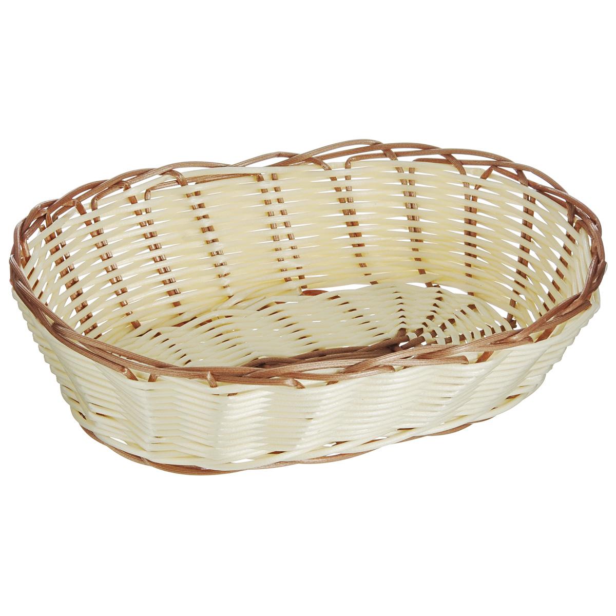 Корзинка для хлеба Kesper, 25 см х 17,5 см х 7 см. 1981-0VT-1520(SR)Оригинальная плетеная корзинка Kesper овальной формы, выполнена из пластика, напоминающего фактуру дерева. Корзинка прекрасно подойдет для вашей кухни. Она предназначена для красивой сервировки хлебобулочной продукции.Изящный дизайн придется по вкусу и ценителям классики, и тем, кто предпочитает утонченность и изысканность. Можно мыть в посудомоечной машине. Размер корзинки: 25 см х 17,5 см х 7 см.