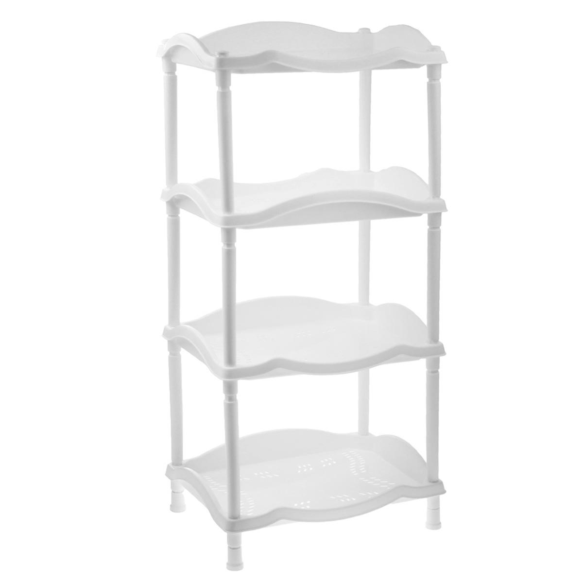 Этажерка Berossi Каскад, 4-х секционная, цвет: белый, 43,8 см х 31,6 см х 89,2 смА14201Этажерка Berossi Каскад выполнена из высококачественного прочного пластика и предназначена для хранения различных предметов. Изделие имеет 4 полки прямоугольной формы с перфорированными стенками. В ванной комнате вы можете использовать этажерку для хранения шампуней, гелей, жидкого мыла, стиральных порошков, полотенец и т.д. Ручной инструмент и детали в вашем гараже всегда будут под рукой. Удобно ставить банки с краской, бутылки с растворителем. В гостиной этажерка позволит удобно хранить под рукой книги, журналы, газеты. С помощью этажерки также легко навести порядок в детской, она позволит удобно и компактно хранить игрушки, письменные принадлежности и учебники. Этажерка - это идеальное решение для любого помещения. Она поможет поддерживать чистоту, компактно организовать пространство и хранить вещи в порядке, а стильный дизайн сделает этажерку ярким украшением интерьера.Размер этажерки (ДхШхВ): 43,8 см х 31,6 см х 89,2 см. Размер полки (ДхШхВ): 43,8 см х 31,6 см х 6 см.