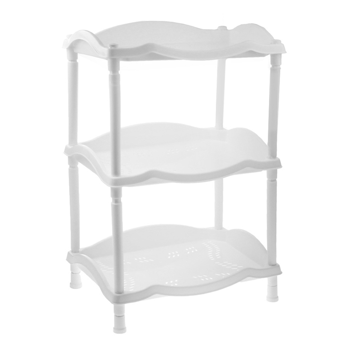 Этажерка Berossi Каскад, 3-х секционная, цвет: белый, 43,8 х 31,6 х 63,6 см192520Этажерка Berossi Каскад выполнена из высококачественного прочного пластика и предназначена для хранения различных предметов. Изделие имеет 3 полки прямоугольной формы с перфорированными стенками. В ванной комнате вы можете использовать этажерку для хранения шампуней, гелей, жидкого мыла, стиральных порошков, полотенец и т.д. Ручной инструмент и детали в вашем гараже всегда будут под рукой. Удобно ставить банки с краской, бутылки с растворителем. В гостиной этажерка позволит удобно хранить под рукой книги, журналы, газеты. С помощью этажерки также легко навести порядок в детской, она позволит удобно и компактно хранить игрушки, письменные принадлежности и учебники. Этажерка - это идеальное решение для любого помещения. Она поможет поддерживать чистоту, компактно организовать пространство и хранить вещи в порядке, а стильный дизайн сделает этажерку ярким украшением интерьера.Размер этажерки (ДхШхВ): 43,8 см х 31,6 см х 63,6 см. Размер полки (ДхШхВ): 43,8 см х 31,6 см х 6 см.