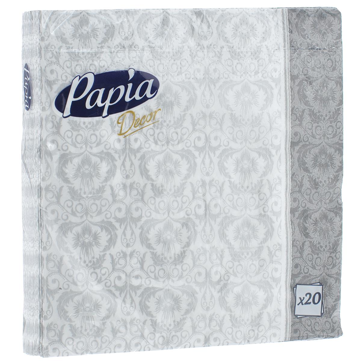 Салфетки бумажные Papia Decor, трехслойные, цвет: серый, белый, 33 x 33 см, 20 шт787502Трехслойные салфетки Papia Decor, выполненные из 100% целлюлозы, оформлены орнаментом. Салфетки предназначены для красивой сервировки стола. Оригинальный дизайн салфеток добавит изысканности вашему столу и поднимет настроение. Размер салфеток: 33 см х 33 см.