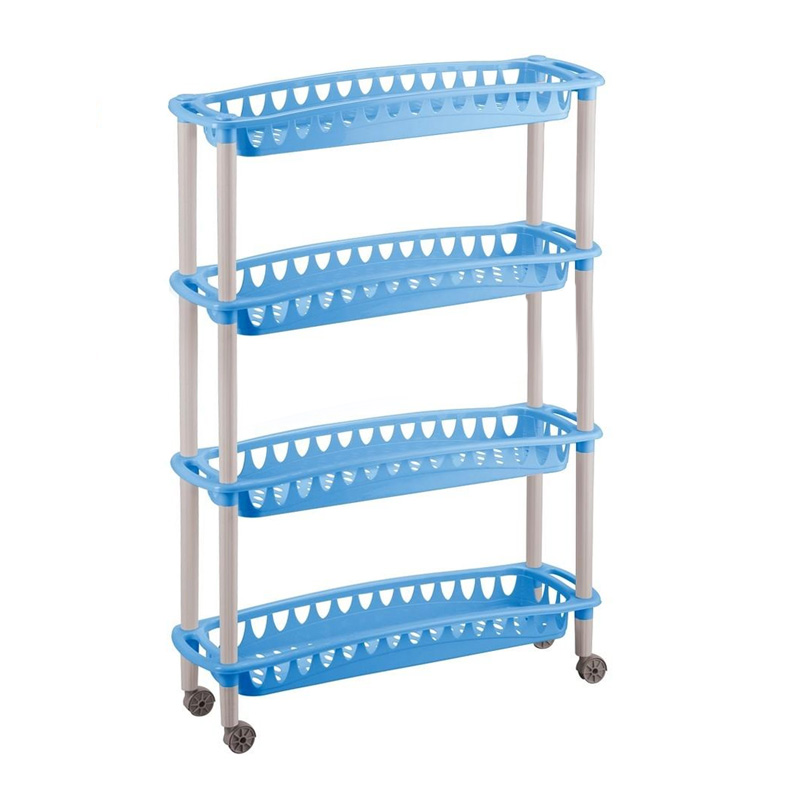 Этажерка Бытпласт Джулия, 4-х секционная, на колесиках, цвет: голубой, 59 х 18 х 73 смS03301004Этажерка Бытпласт Джулия выполнена из высококачественного прочного пластика и предназначена для хранения различных предметов. Изделие имеет 4 полки прямоугольной формы с перфорированными стенками. Благодаря колесикам этажерку можно перемещать в любую сторону без особых усилий. В ванной комнате вы можете использовать этажерку для хранения шампуней, гелей, жидкого мыла, стиральных порошков, полотенец и т.д. Ручной инструмент и детали в вашем гараже всегда будут под рукой. Удобно ставить банки с краской, бутылки с растворителем. В гостиной этажерка позволит удобно хранить под рукой книги, журналы, газеты. С помощью этажерки также легко навести порядок в детской, она позволит удобно и компактно хранить игрушки, письменные принадлежности и учебники. Этажерка - это идеальное решение для любого помещения. Она поможет поддерживать чистоту, компактно организовать пространство и хранить вещи в порядке, а стильный дизайн сделает этажерку ярким украшением интерьера.Размер этажерки (ДхШхВ): 59 см х 18 см х 73 см. Размер полки (ДхШхВ): 59 см х 18 см х 6,5 см.