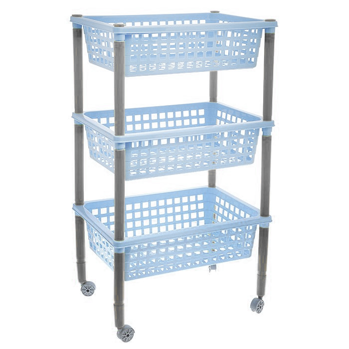 "Этажерка ""Элиза"", 3-х ярусная, на колесиках, цвет: голубой, 42 х 29 х 73 см"