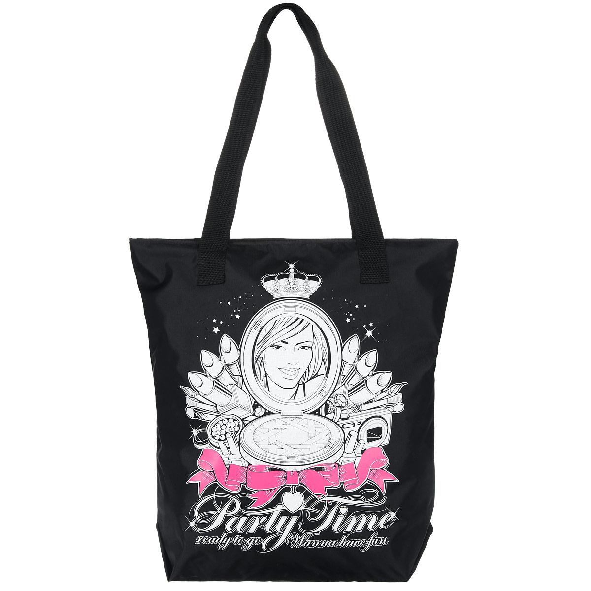 Сумка женская Antan Party time, цвет: черный, белый, розовый. 1-58S76245Стильная женская сумка Wild Fashion выполнена из плотного материала (полиэстера) и оформлена оригинальным принтом.Изделие имеет одно вместительное отделение, закрывающееся на застежку-молнию. Внутри расположен накладной карман на застежке-молнии.Сумка оснащена двумя удобными ручками, позволяющими носить ее на плече.Сумка - это стильный аксессуар, который подчеркнет вашу изысканность и индивидуальность и сделает ваш образ завершенным.