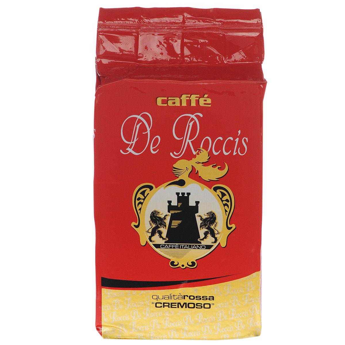 De Roccis Rossa кофе молотый, 250 г8016115000226De Roccis Rossa - превосходный итальянский молотый кофе средней обжарки, обладающий сладким и душистым ароматом. Состав смеси: 85% арабика, 15% робуста.