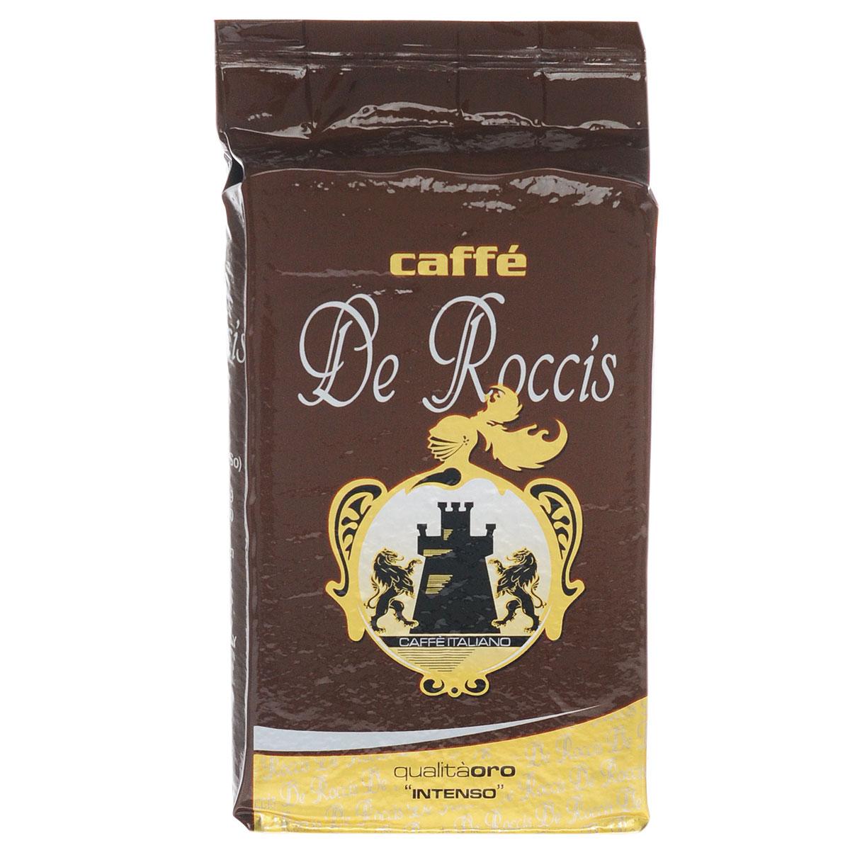 De Roccis Oro кофе молотый, 250 г8016115000219De Roccis Oro - превосходный итальянский молотый кофе средней обжарки, обладающий сладким и душистым ароматом. Кофейная смесь предназначена для повседневного домашнего использования. Его аромат остается очень ярким, даже при добавлении в кофе молока. Состав смеси: 70% арабика, 30% робуста.
