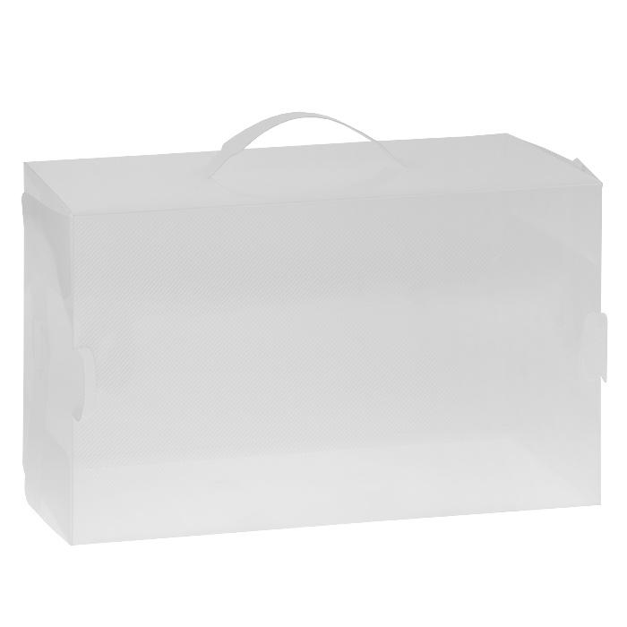 Коробка для хранения сапог Loks, 52 х 30 х 11,5 см74-0060Коробка Loks, выполненная из прочного пластика, предназначена для сезонного хранения сапог. Специальные отверстия на корпусе коробки обеспечивают доступ воздуха и позволяют обуви дышать. В коробку помещается пара обуви до 40-го размера включительно. Простая система сборки позволяет быстро собрать изделие. Прозрачность материала поможет найти нужную пару обуви, не открывая коробки. Удобная ручка служит для транспортировки коробки и облегчает извлечение ее из шкафа. Изделие открывается с боковой стороны и позволяет извлекать содержимое, не доставая саму коробку.