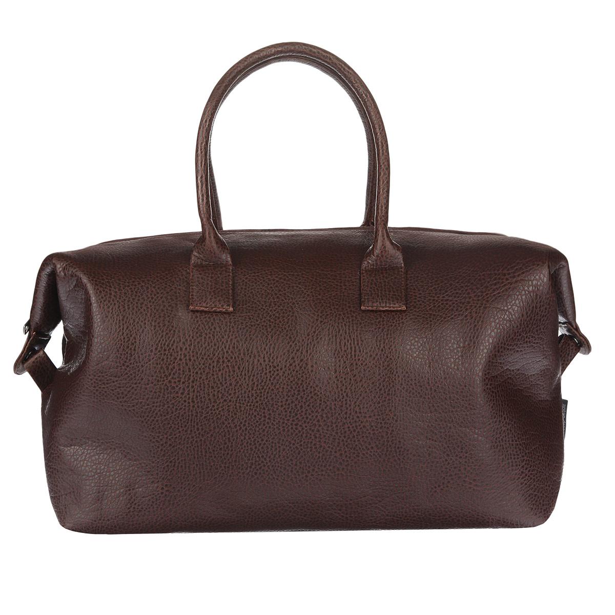 Сумка дорожная Antan, цвет: коричневый. 2-379 В7019.5Вместительная дорожная сумка Antan выполнена из искусственной кожи с фактурной поверхностью и состоит из одного большого отделения, закрывающегося на пластиковую застежку-молнию с двумя бегунками. Внутри отделения расположен прорезной карман на застежке-молнии. С тыльной стороны предусмотрен вшитый карман на молнии. По бокам имеются застежки-кнопки, благодаря которым сумку можно незначительно уменьшить в размере. Дно уплотнено. Сумка оснащена двумя удобными ручками. Такая модель отлично подойдет для поездок.