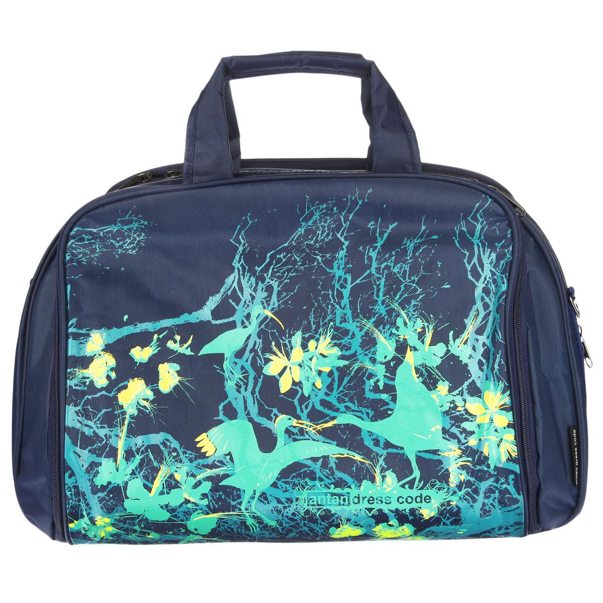 Сумка дорожная Antan Птицы райские, цвет: синий, зеленый. 1-27/123008Дорожная вместительная сумка Antan Птицы райские выполнена из плотного материала и оформлена изображением птиц.Сумка состоит из одного главного отделения, закрывающегося на застежку-молнию. Внутри - карман на застежке-молнии. На задней стенке сумки расположен объемный карман на застежке-молнии, на лицевой стороне - карман на застежке-молнии, содержащий сетчатый накладной кармашек. Сумка оснащена двумя удобными ручками и съемным плечевым ремнем регулируемой длины. Такая сумка - незаменимый аксессуар для путешествия.
