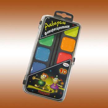 Акварель флуоресцентная Флюрики, 10 цветов0775B001Акварель медовая полусухая флуоресцентная без кисти.Объем краски одного цвета 2,8 кубических сантиметра.