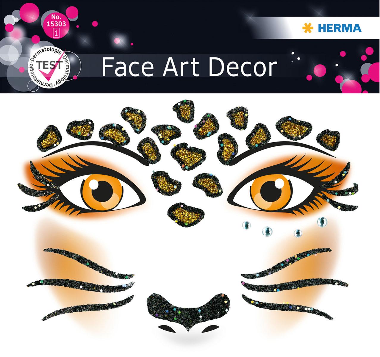 """Наклейки на лицо Face Art """"Leopard"""", Herma"""