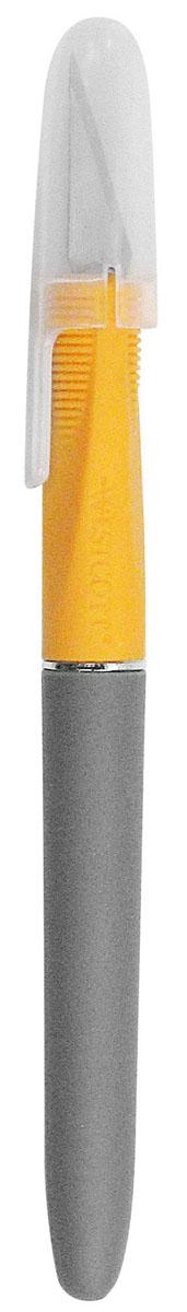 Нож канцелярский Westcott, цвет: серый, желтый, 16 смE-30403 00Канцелярский нож Westcott с мягкой зоной обхвата и защитным колпачком идеально подходит для работ в технике скрапбукинг, декупаж, для вырезания мелких предметов, фигурного вырезания, аппликаций. Он предназначен для работы с бумагой, плотным картоном, пленкой, очень удобен для открытия коробок.
