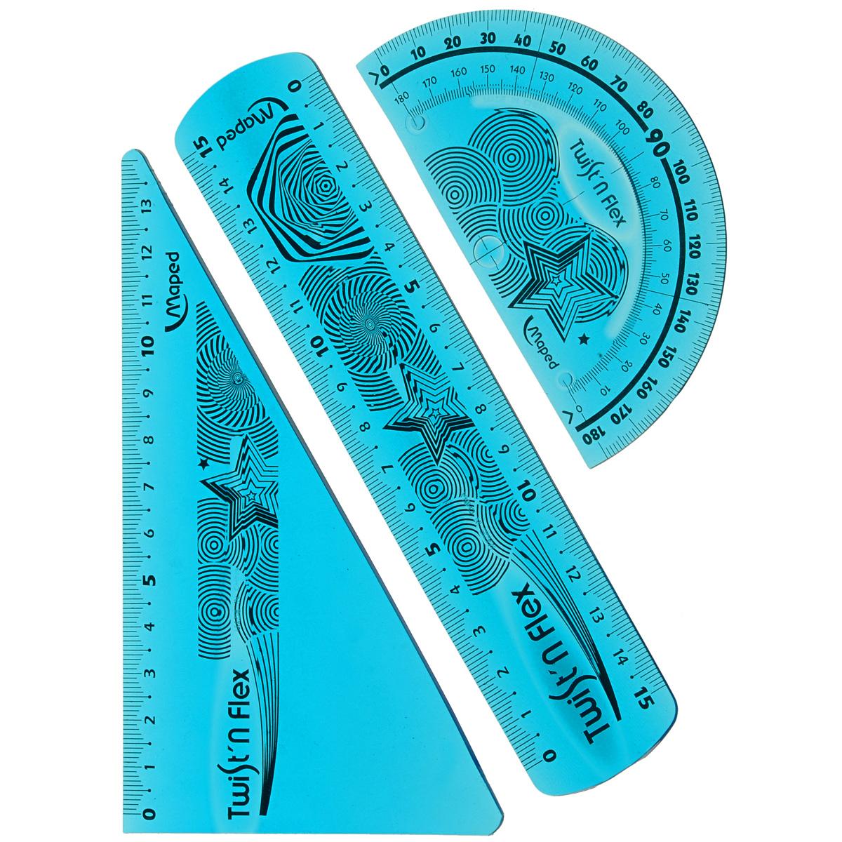 Геометрический набор Maped Twistn Flex, цвет: голубой, 3 предмета730396Геометрический набор Maped Twistn Flex, выполненный из яркого гибкого пластика, можно носить повсюду.Набор состоит из трех предметов: линейки на 15 сантиметров, транспортира на 180 градусов и угольника (60°; 13 см). Разметка шкалы нанесена на внутреннюю поверхность чертежных принадлежностей, что предотвращает ее истирание.Каждый чертежный инструмент имеет свои функциональные особенности, что делает работу с ними особенно удобной и легкой.