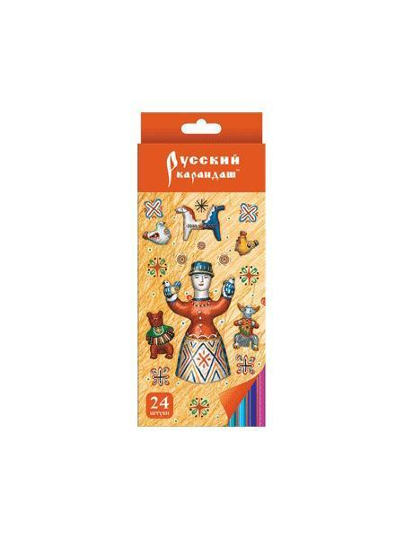 Карандаши 24 цвета Русский карандаш. Фольклор (длина 175 мм) шестигранные в картонной двухрядной коробке с европодвесом, ok 6.4 мм730396Цветные карандаши позволяют создавать рисунки с потрясающим эффектом. Традиционный корпус изготовлен из древесины сибирского кедра и многократно окрашен. Высококачественный ударопрочный грифель обеспечивает невероятно мягкое письмо, не ломается и не крошится при заточке. С цветными карандашами маленький художник сможет с легкостью воплотить свои многочисленные творческие замыслы!