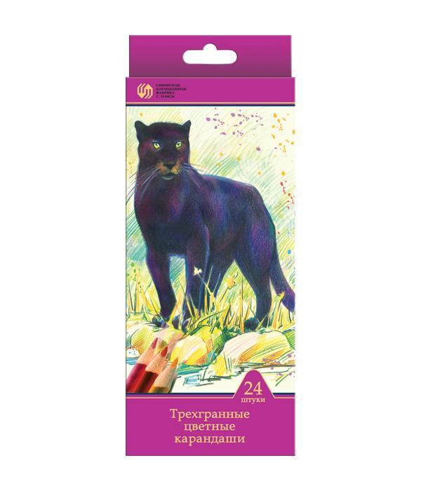 Карандаши 24 цвета Сибирский Кедр. Дикие кошки (длина 175 мм) трехгранные в картонной коробке с европодвесом, ok 6.9 ммCS-MA410020Цветные карандаши позволяют создавать рисунки с потрясающим эффектом. Традиционный корпус изготовлен из древесины сибирского кедра и многократно окрашен. Высококачественный ударопрочный грифель обеспечивает невероятно мягкое письмо, не ломается и не крошится при заточке. С цветными карандашами маленький художник сможет с легкостью воплотить свои многочисленные творческие замыслы!