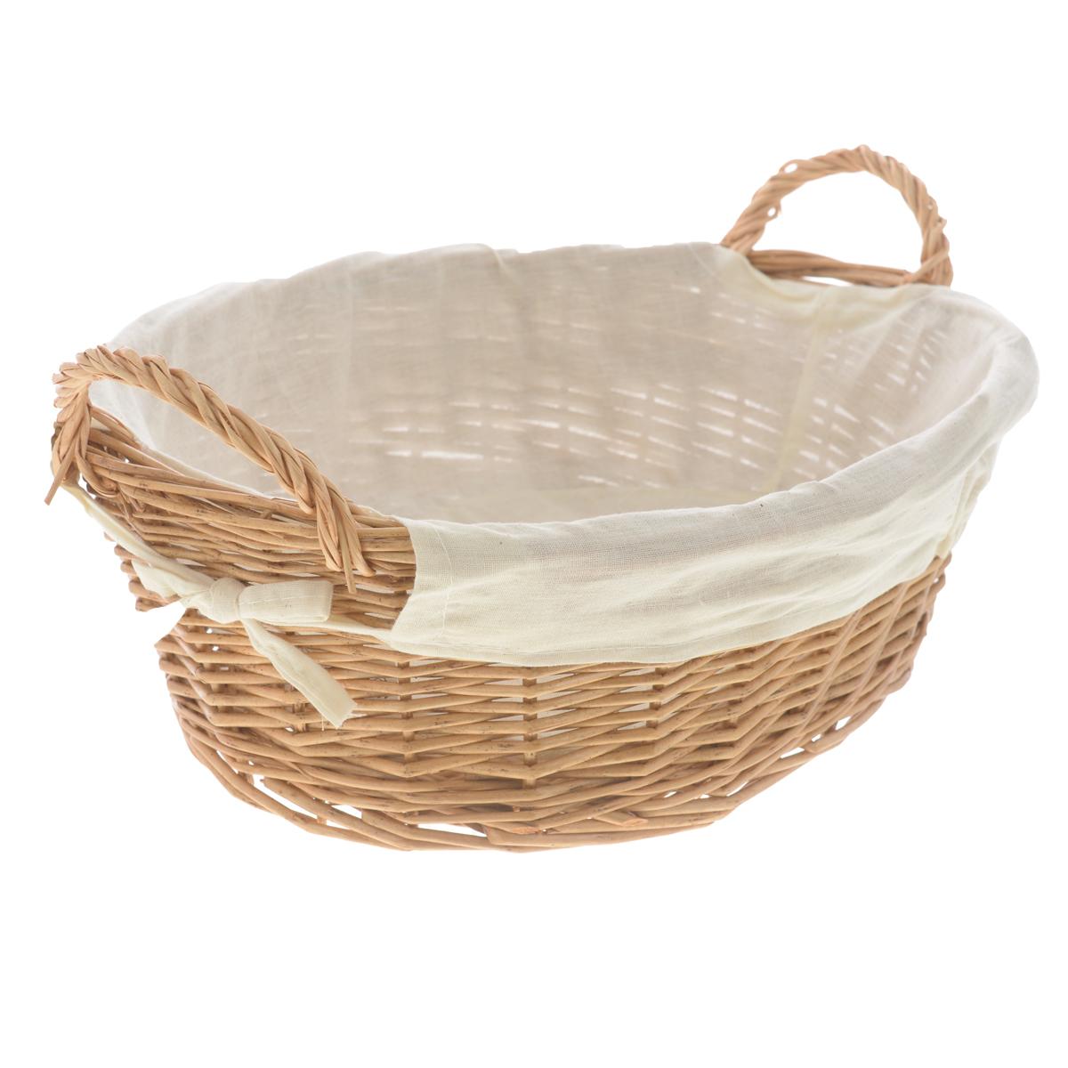 Корзина Zeller, 34 см х 26 см х 11 смU210DFОвальная корзина Zeller изготовлена из натурального плетеного волокна и декорирована текстилем. Она предназначена для хранения хлеба, а также мелочей дома или на даче. Позволяет хранить мелкие вещи, исключая возможность их потери. Изделие оснащено удобными ручками.Корзина очень вместительная. Элегантный выдержанный дизайн позволяет органично вписаться в ваш интерьер и стать его элементом.Материал: натуральное волокно, текстиль.Размер корзины по верхнему краю (без учета ручек): 34 см х 26 см.Размер корзины по верхнему краю (с учетом ручек): 38 см х 26 см.Высота корзины (без учета ручек): 11 см.