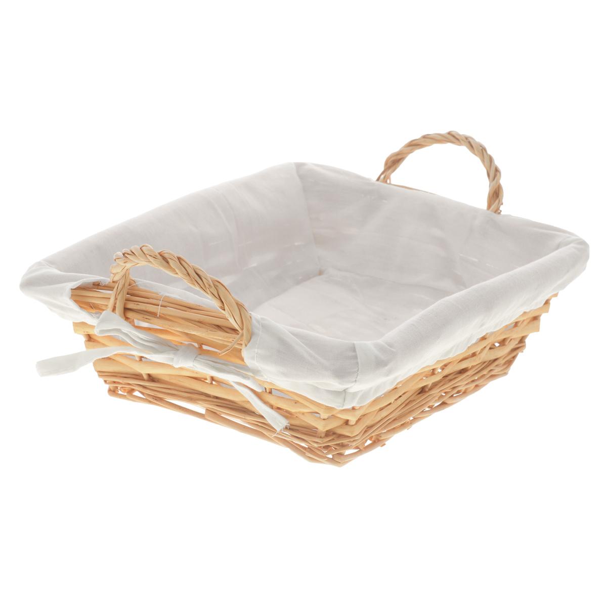 Корзина Kesper, 25 х 22 х 8 смTD 0033Прямоугольная корзина Kesper изготовлена из натурального плетеного волокна и декорирована текстилем. Она предназначена для хранения хлеба, а также мелочей дома или на даче. Позволяет хранить мелкие вещи, исключая возможность их потери. Изделие оснащено удобными ручками.Корзина очень вместительная. Элегантный выдержанный дизайн позволяет органично вписаться в ваш интерьер и стать его элементом.Материал: натуральное волокно, текстиль.Размер корзины по верхнему краю (без учета ручек): 25 см х 22 см.Размер корзины по верхнему краю (с учетом ручек): 29 см х 22 см.Высота корзины (без учета ручек): 8 см.