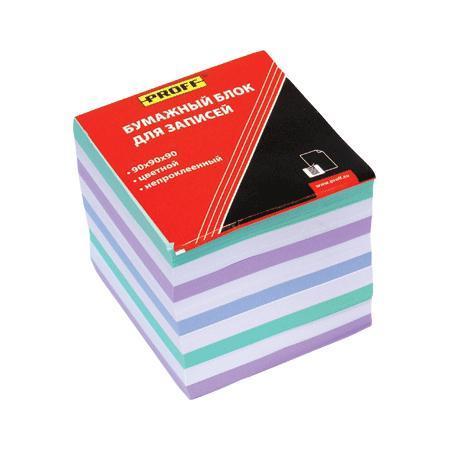 Бумажный блок для записей 90*90*90 цветной, непроклеенный, в термоплёнке ProffМ150-90цв PF