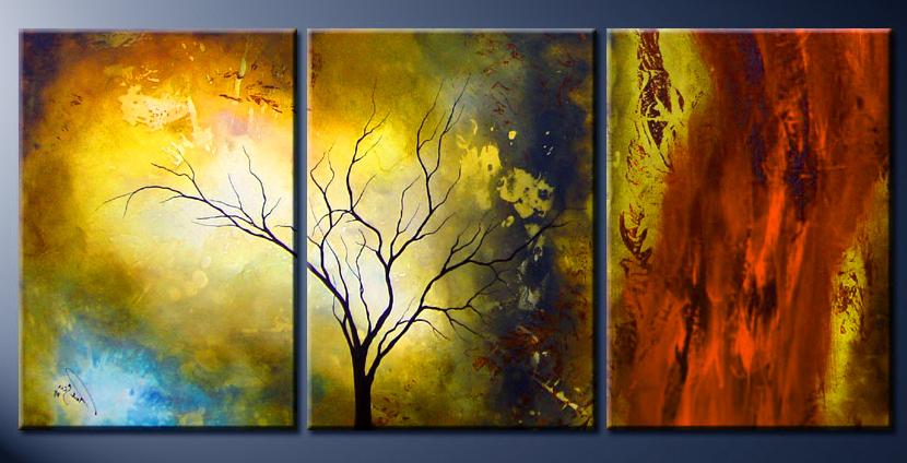 Модульная картина Композиция с деревом №1, 3 части, смешанная техника, холст, подрамник, жикле, акрил, общий размер - 120х60 см, автор Светлана Сергеева1509Модульная картина Композиция с деревом №1 - это яркая работа из трех частей. В ней эффектно сочетаются различные контрастные цветовые пятна. Современный стильный пейзаж. Картины на холсте, пропись акриловыми красками, покрытие лаком, галерейная натяжка на подрамник. Она придется по душе тем, кто хочет что-то необычное, но не готов совсем отказаться от конкретных образов природы. холст, акрил, деревянный подрамник Внимание!!! Так как это ручная работа, рисунок может слегка отличаться от представленного на фото образца.