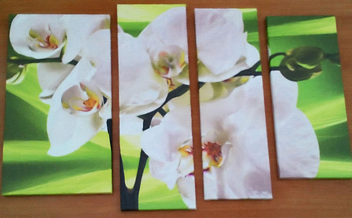 Модульная картина Орхидеи на салатовом фоне, 4 части, смешанная техника, холст, подрамник, жикле, акрил, общий размер - 100х75 см, автор Светлана Сергеева1514Модульная картина Орхидеи на салатовом фоне состоит из 4 частей в салатово-белых тонах. Она отлично будет смотреться в спальне или гостиной. Работа выполнена на натуральном льняном холсте, галерейная натяжка на подрамник. Орхидеи были одним из любимых цветов у женщин во все времена. Эта картина будет отличным подарком вашей девушке или подруге. холст, акрил, деревянный подрамник Внимание!!! Так как это ручная работа, рисунок может слегка отличаться от представленного на фото образца.